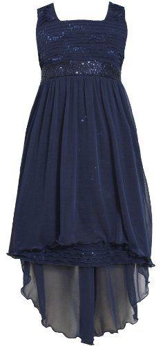 TWEEN GIRLS 7-16 * Navy-Blue Sequin Eyelash Ruffle High-Low ...