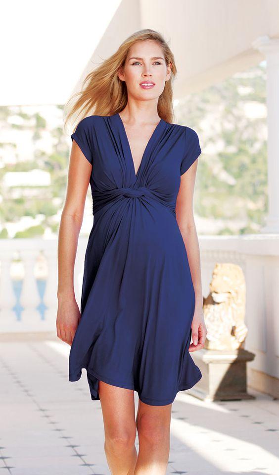 Jolene Abito Elegante Premaman Nodo - Blu Navy - Abbigliamento Premaman