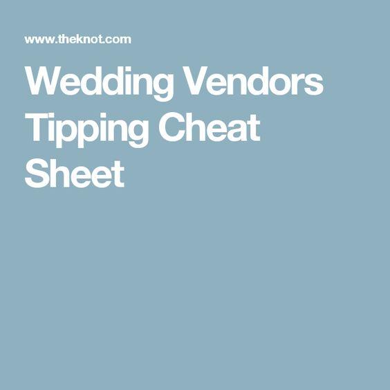 Wedding Vendors Tipping Cheat Sheet