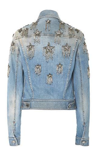Star Embellished Denim Jacket by Roberto Cavalli   Moda Operandi