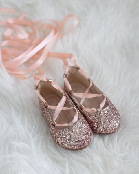 GOLD GLITTER Infant girl Shoe and Girls ballerina Shoes Lace Up Flats flower girl shoes princess shoes and fairies shoes. Holiday shoes