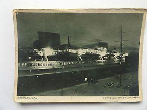 """Details zu Bremerhaven, Schnelldampfer """"Bremen"""" bei Nacht im Hafen"""