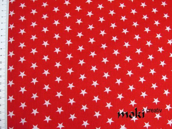 Stoff Sterne rot weiß gemustert Baumwollstoff von moki-creativ auf DaWanda.com