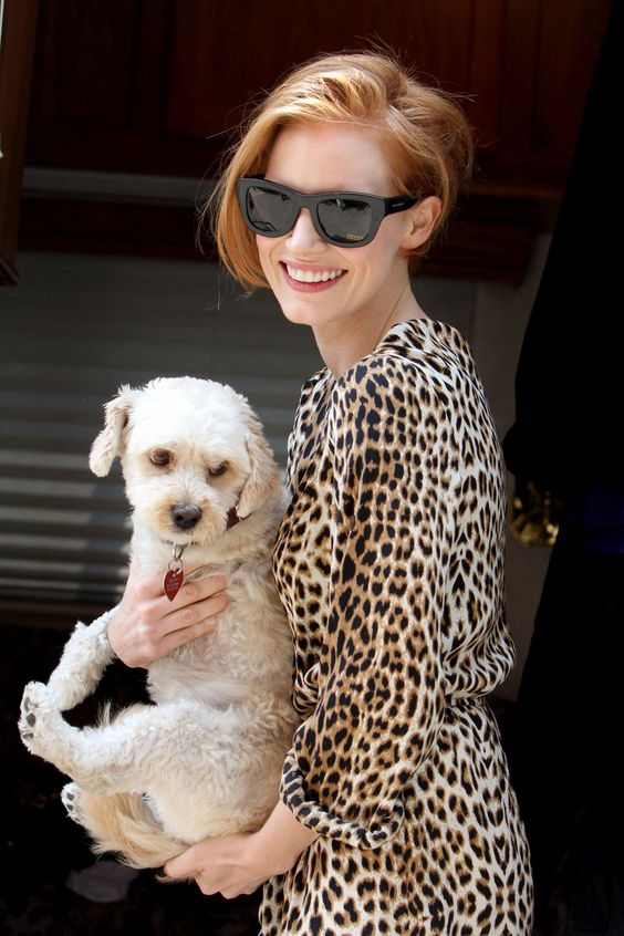 Jessica Chastain with her dog Chaplin. He's so #cute, and three legged!