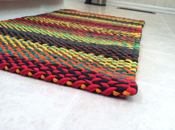 Falling Leaves Twined Woven T Shirt Rag Rug Craft