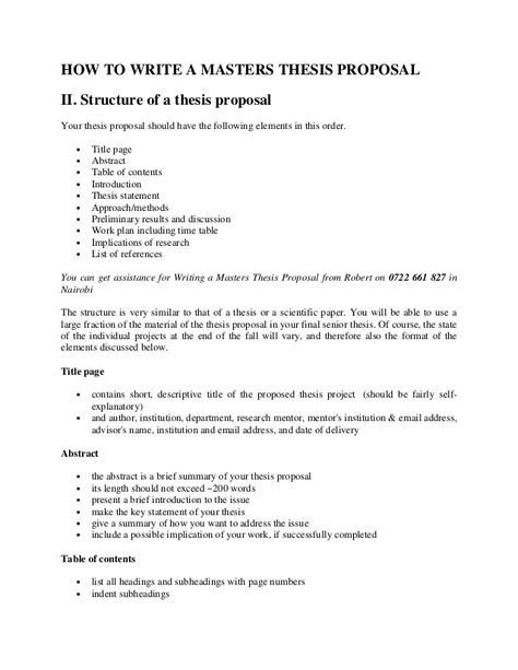 HOW TO WRITE A MASTERS THESIS PROPOSAL II. Structure Of A Thesis Proposal  Your Thesis Proposal Should Have The… | Masters Thesis, Proposal Writing,  Thesis Statement