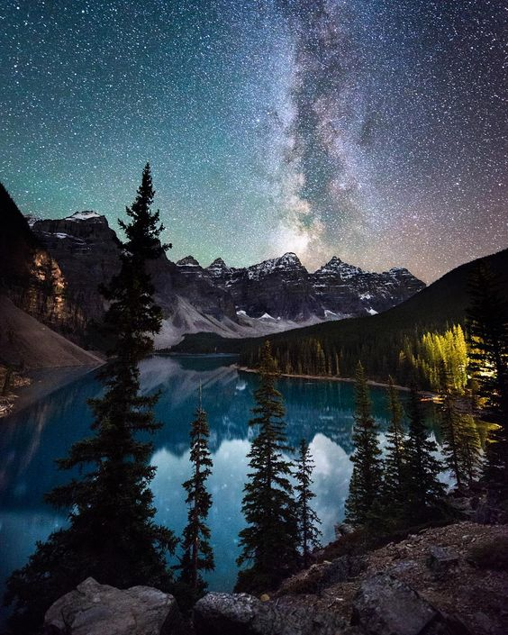 Id choose a view of the universe over a view with blue sky any day! Moraine Lake Alberta. @goalzero @hippytree @loweprobags by travisburkephotography