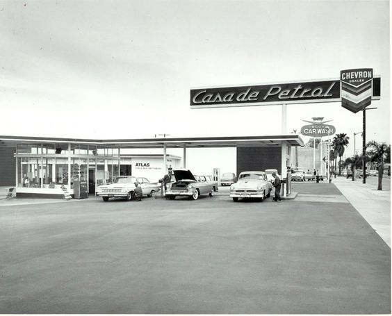 Casa de Petrol, in 1961, formerly located at 14325 Ventura Blvd, Sherman Oaks, CA (near the corner of Beverly Glen). This was where James Dean filled up his Porsche before later meeting his maker in a fatal car accident in 1955. It's now a flower shop.  (Bizarre Los Angeles)