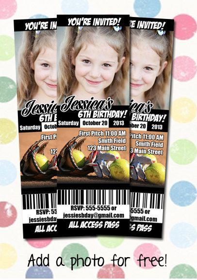 Softball Birthday Party Invitation Ticket Style by DigiPopCards, $12.99