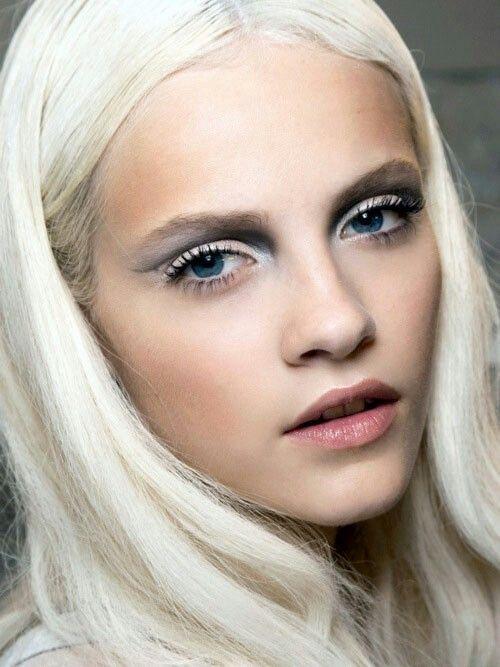 platinum hair, smokey blue eyes