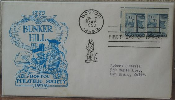 First Day Issue/Cover-Stamp-Bunker Hill 1959 2 1/2c