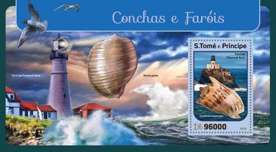 ST16402b Shells and lighthouses (Tillamook Rock Lighthouse, Cymbiola imperialis)