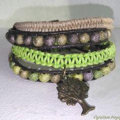 Bracelet wrap couleurs nature, quatre rangs
