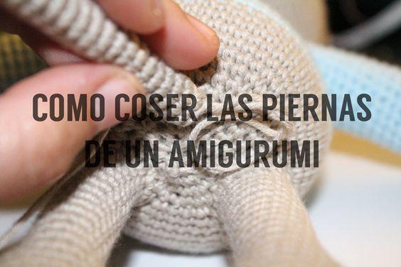 idea para coser las piernas de los amigurumis