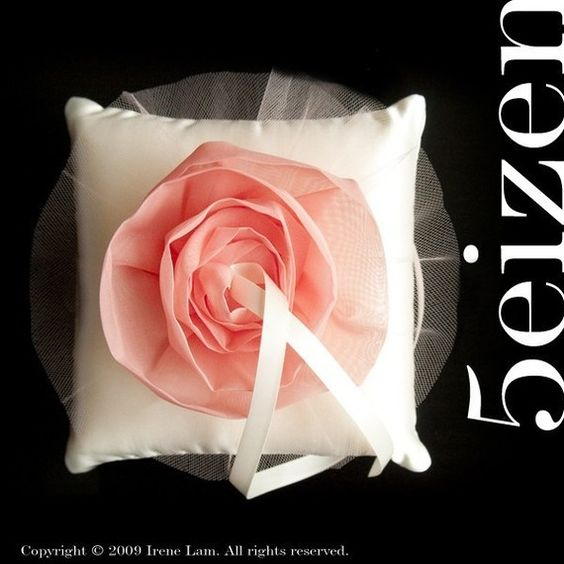 Juliani Series  Coral Bloom and Ivory Ring Pillow by 5eizen,