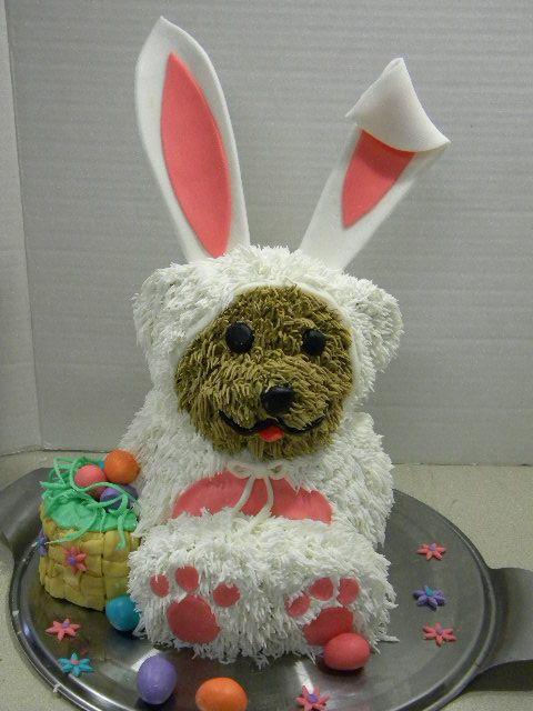 Bear dressed like the Easter Bunny cake