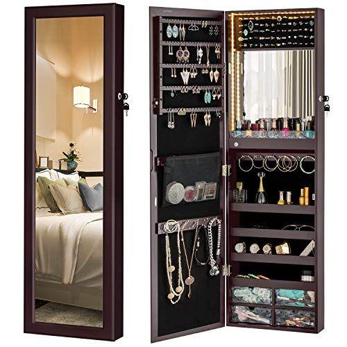 Luxfurni Mirror Jewelry Cabinet 79 Led, Wall Hanging Mirror With Storage