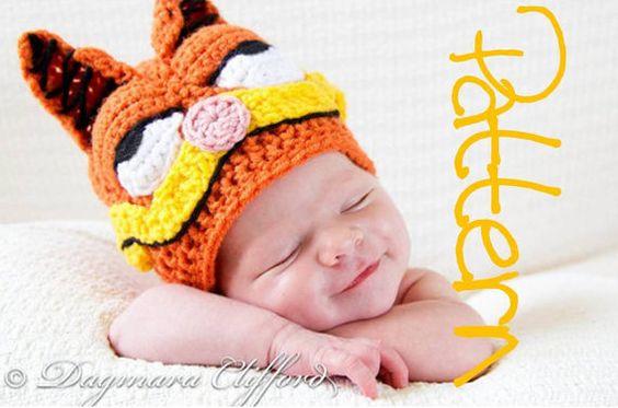 Crochet Hat PATTERN- Crochet Retro Cartoon Cat Hat Beanie in Nectarine - Instructions for Baby / Toddler / Boy / Girl / Man / Woman Sizes on Etsy, $5.00