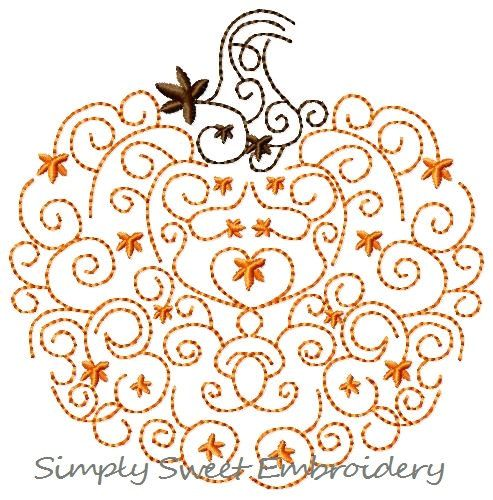 Scroll Pumpkin Machine Embroidery Design by SimplySweetEmbroider, $4.00