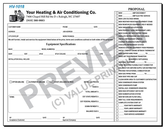 Heating and Air Conditioning Sample Proposal - Create your own - hvac proposal template