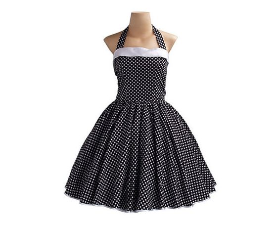 1950s Halterneck Black / Small White Spot Dress TD011 by wanyboon, $74.00