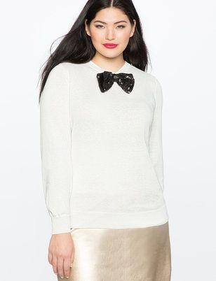 Ruffle Shoulder Sweater with Bow from ELOQUII
