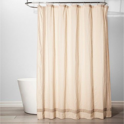 Solid With Velvet Shower Curtain Beige Threshold Curtains