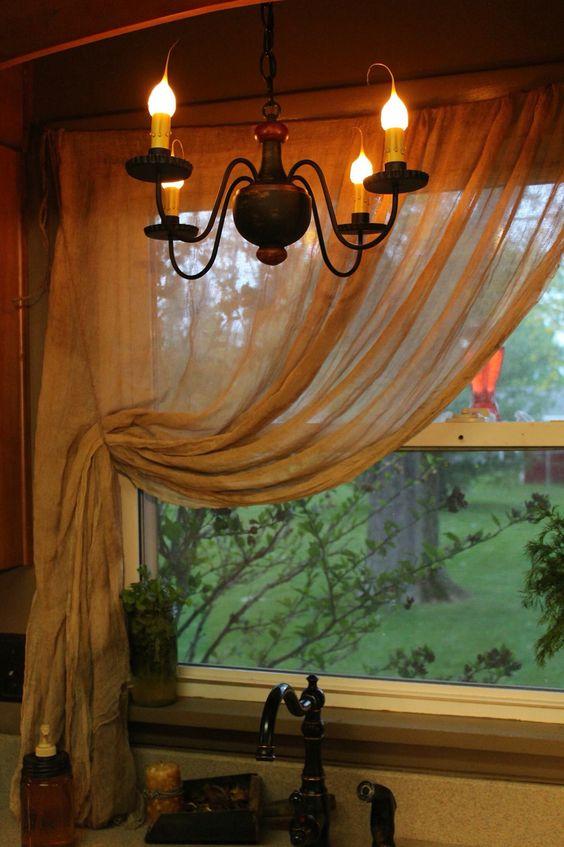 Primitive cheesecloth curtains | Primitive curtains | Pinterest ...
