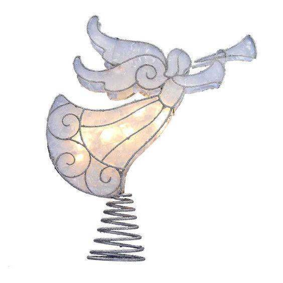 Kurt Adler UL 10-Light Trimmed Capiz Look Angel Treetop