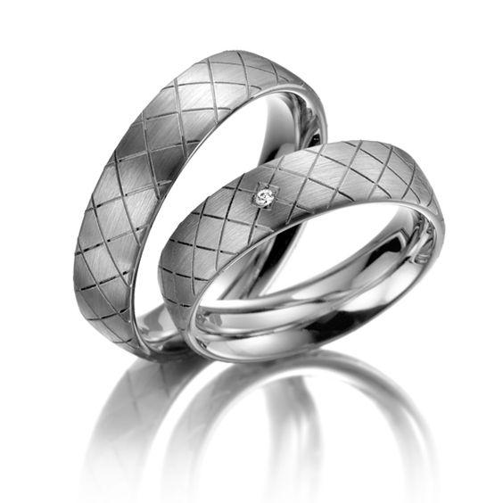 Trauringe / Wedding Rings 123gold Fantasy, Palladium 585/- Breite: 5,50 - Höhe: 1,30 - Steinbesatz: 1 Brillant 0,02 ct. tw, si (Ring 1 mit Steinbesatz, Ring 2 ohne Steinbesatz)