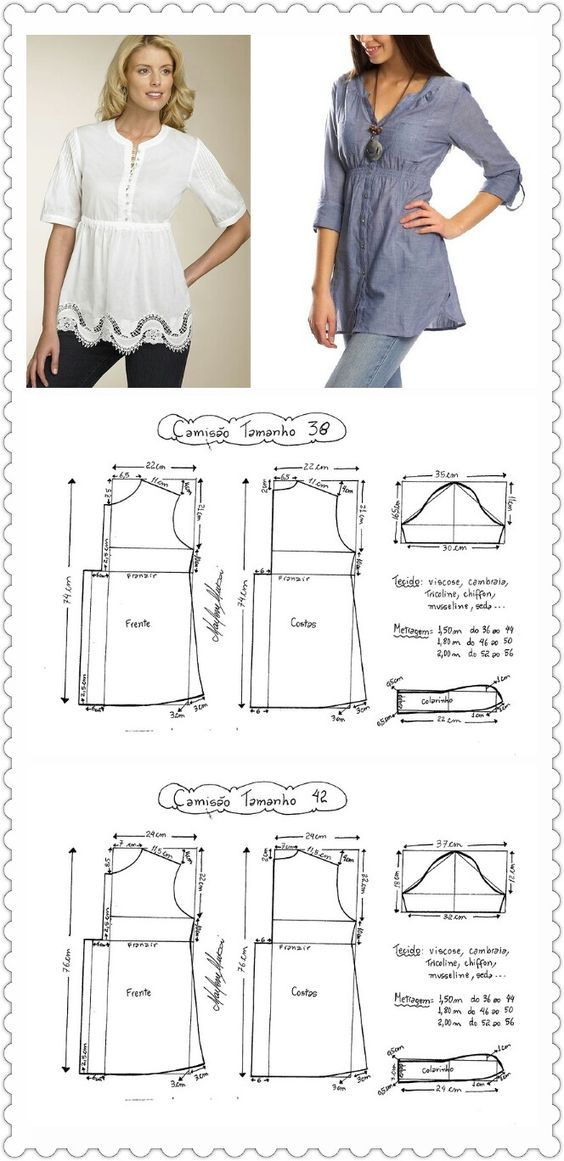 Sweet tunic blouse with flat buttons and empire waist free pattern