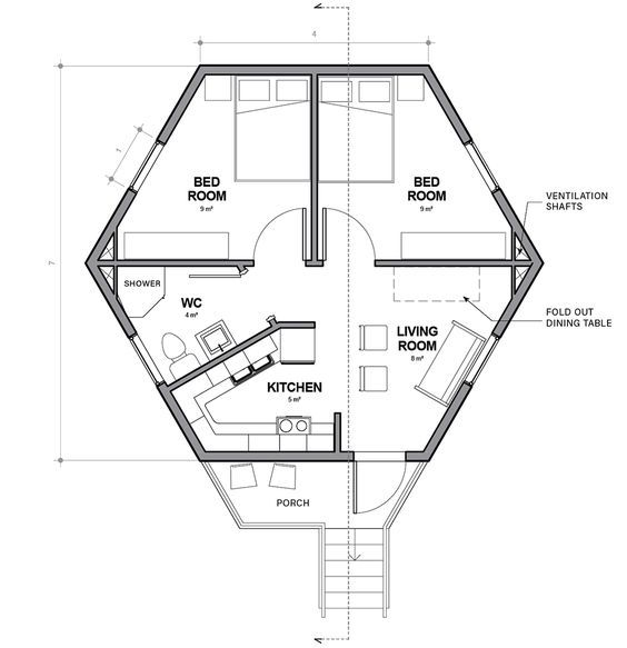 Single Cell Hex House By Architects For Society Refugee Crisis Housing Architecture News Hexagon House Architect House Octagon House