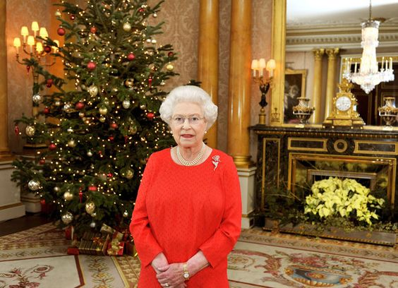Queen Elizabeth II stands in the 1844 Room of Buckingham Palace after recording her annual Christmas Day television broadcast to the Commonwealth on December 9, 2011
