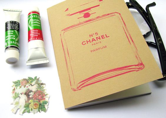 Pink Chanel bottle notebook no5 perfume journal by invisiblecrown, €3.95 #shopumbabox #handmade