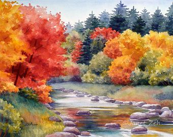 Autumn Watercolor Print New England Fall Trees Landscape Mountain River Art Impressionist Decor By Janet Zeh In 2020 Watercolor Landscape Paintings Autumn Painting Fall Watercolor