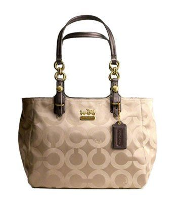 Coach Signature Op Art Mia East West Gallery Shopper Tote Bag