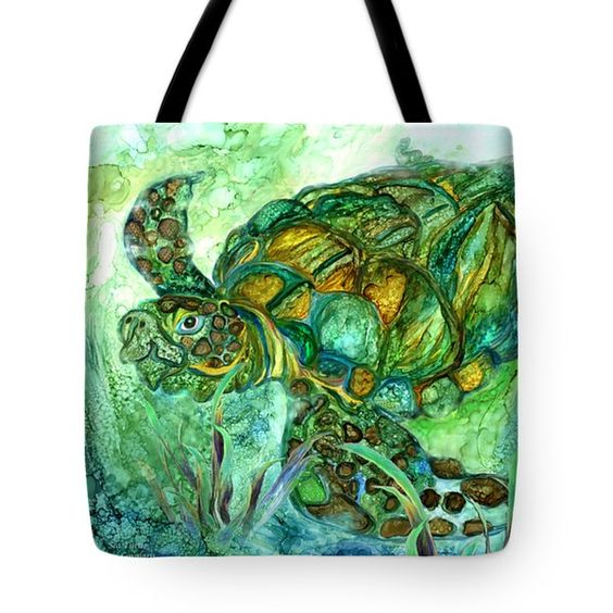 Sea Turtle - Spirit Of Peace Tote Bag by Carol Cavalaris