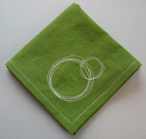 This particular set of 4 cotton napkins is olive green with white contrasting stitching, perfect for your summer picnic! The corners are all beautifully mitered and each are embellished with a circle stitch as shown. $10