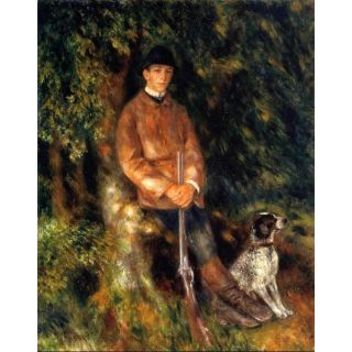 Handmade Oil Painting Alfred Berard and His Dog by Renoir
