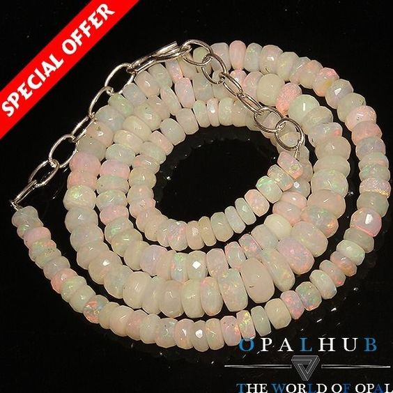 64Crts 100% Nature Ethiopian Welo Fire Opal Faceted Rondelle Beads Necklace 641