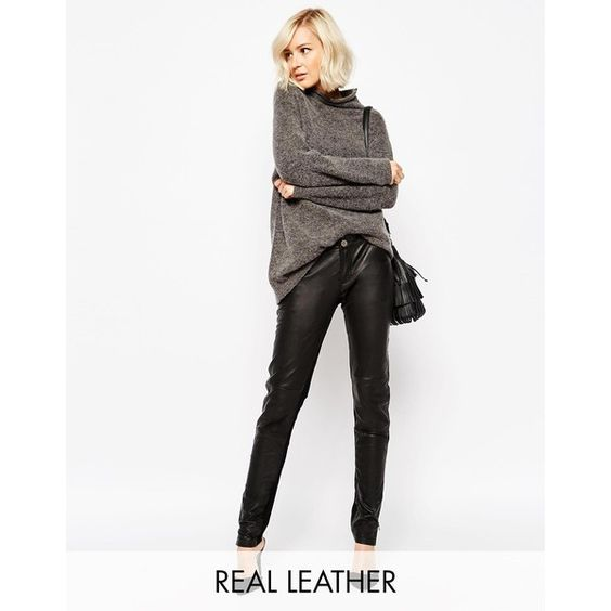 Gestuz Ada Pant in Leather ($275) ❤ liked on Polyvore featuring pants, black, black trousers, black skinny pants, 5 pocket leather pants, black leather pants and five pocket pants