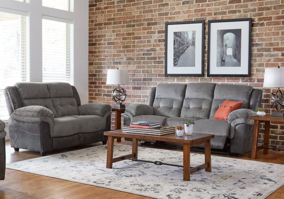 Jay Street Gray 5 Pc Living Room With Reclining Sofa Reclining Living Rooms Gray Oak Floor Living Room Living Room Sets Living Room