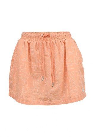Юбка Bench выполнена из хлопкового материала персикового оттенка. Детали: расклешенный крой, эластичный пояс на шнурке, два кармана, без подкладки, абстрактный узор. http://j.mp/1pPcw0b