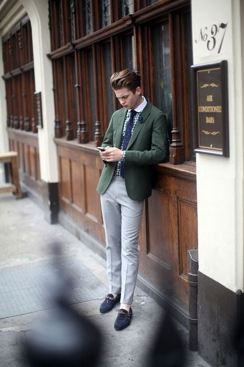Love the hunter green blazer paired with a white collared green ...