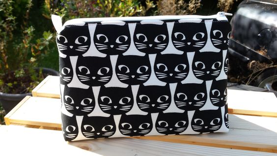 Black and White Cat Print Wash Bag ,Large Make up Bag / Cosmetic Bag / Vanity…