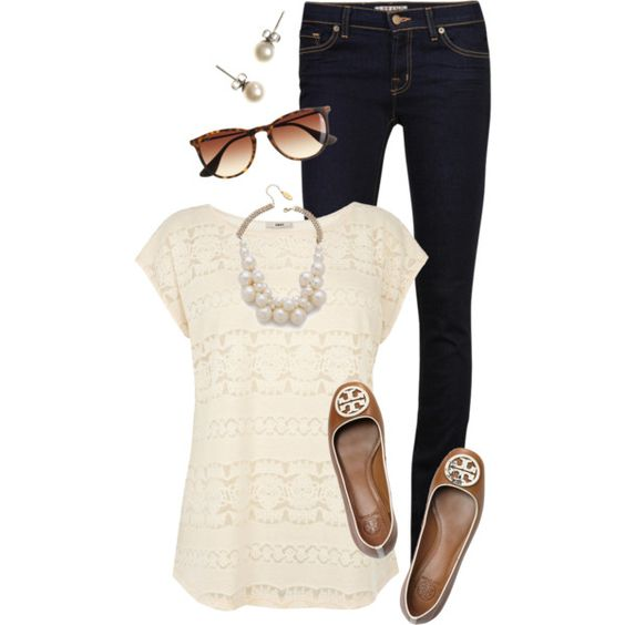 Everyday Outfit: Simple Everyday Outfits, Flats Add, Pearly Whites, Lace Top, Classy Everyday Outfits, Simple Style, Lace Shirts, Spring Outfit, Tory Flats