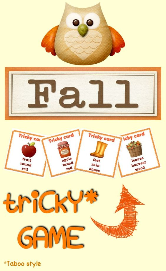 #Taboo style game - tricky game about #fall vocabulary. Cutie.