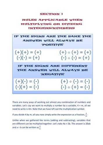 Section 1 algebra worksheets - expanding brackets and factorising - algebraic subtraction worksheets