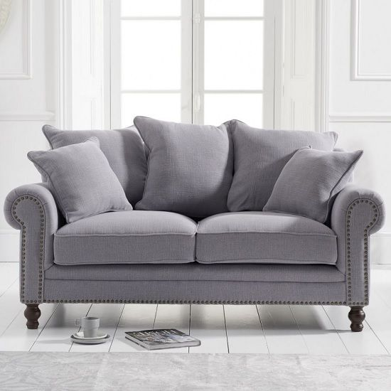 Hoffman Modern 2 Seater Sofa In Grey Linen Fabric Fabric Sofa Uk Fabric Sofa Furniture