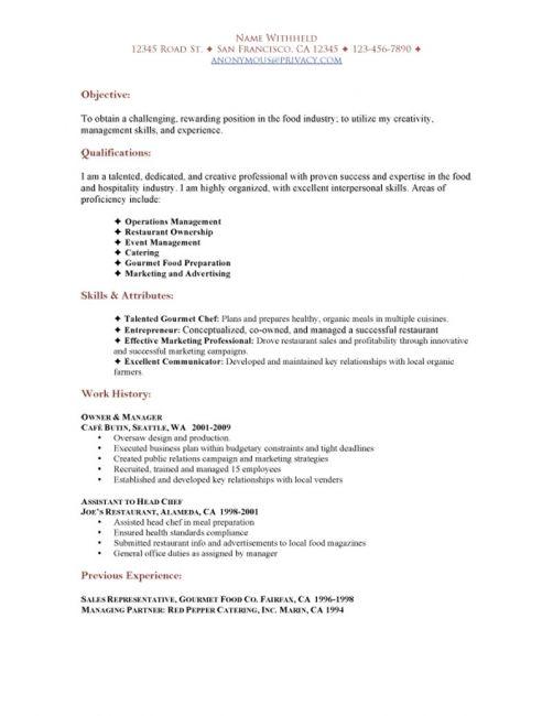 SAMPLE RESTAURANT RESUMES Restaurant Functional Resume Sample - server resume sample